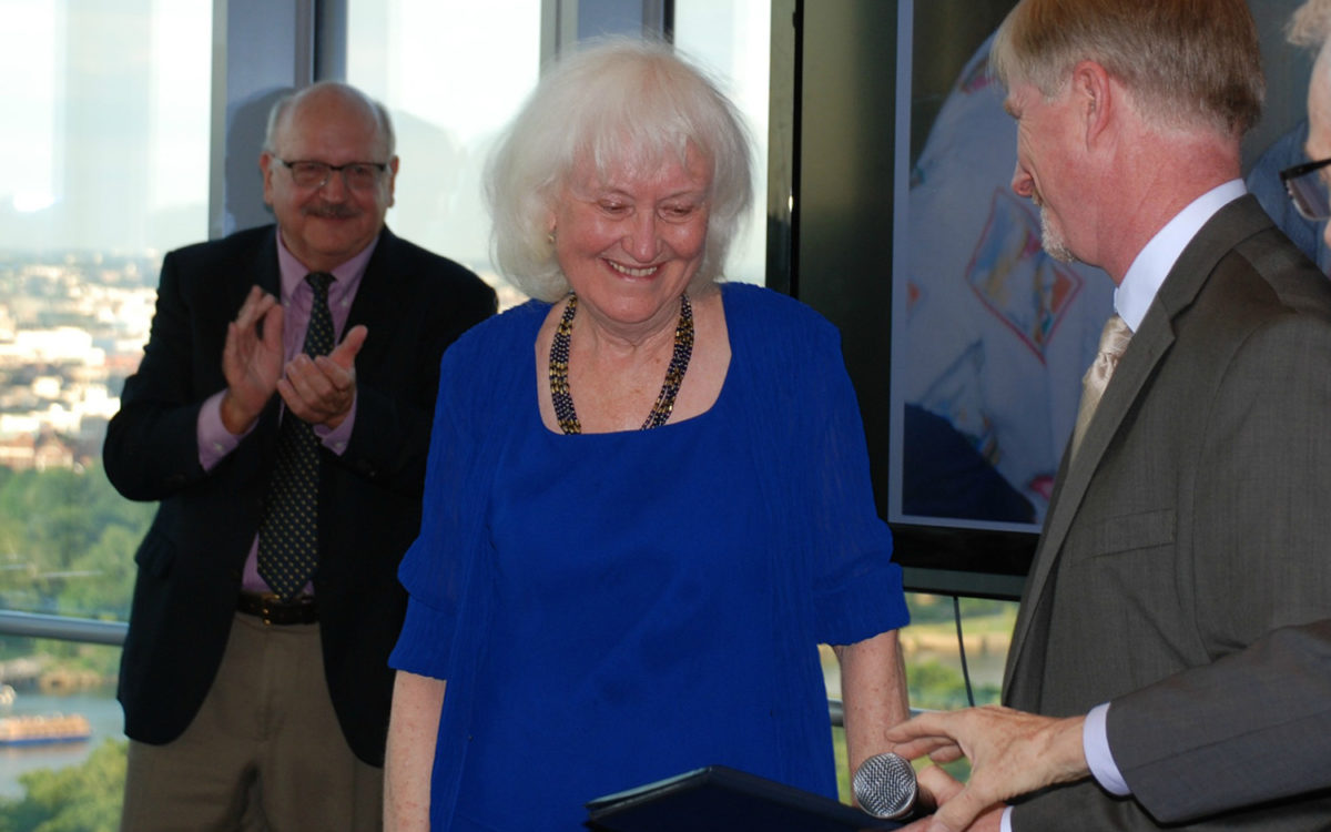 co-founder Wilma Gormley receives award at retirement ceremony-meant to represent value of extraordinary service